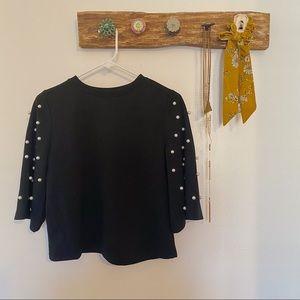 Black Pearl Bell-Sleeve Top